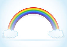 Abstract rainbow with clouds vector Stock Images