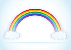 Abstract rainbow with clouds vector Royalty Free Stock Image