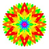 Abstract rainbow colored mandala, Flower isolated on white background, Fractal multicolor bloom, Colorful esoteric petal mandala Royalty Free Stock Images
