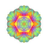 Abstract rainbow colored mandala, Flower isolated on white background, Multicolor bloom, Colorful esoteric petal mandala Royalty Free Stock Images