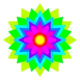Abstract rainbow colored mandala, Flower isolated on white background, Multicolor bloom, Colorful esoteric petal mandala Royalty Free Stock Photo