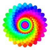 Abstract rainbow colored mandala, Flower isolated on white background, Multicolor bloom, Colorful esoteric petal mandala Stock Images