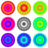 Abstract rainbow colored mandala set, Flowers isolated on white background, Multicolor blooms, Colorful esoteric petal mandalas Royalty Free Stock Photography