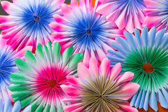 Abstract rainbow Colorful rose flower Paper background Stock Photos