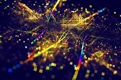 Abstract Rainbow Colorful Squares Lines on Dark Blue Background. Roasd Traffic in City Above Bright Serpentine Party Club Stock Image