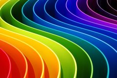 Abstract rainbow colors curves background. 3D rendering. Abstract rainbow colors curves background. 3D Stock Illustration