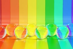 Abstract rainbow colors strips with crystal balls background, 3D Stock Image