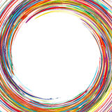 Abstract rainbow curved lines frame circle colorful background. Illustration royalty free illustration