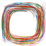 Abstract rainbow curved stripes color line frame background. Illustration Stock Illustration
