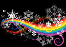 Abstract rainbow curves. With snowflakes Royalty Free Stock Photos