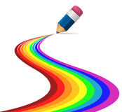Abstract rainbow curves. On white background made by pencil royalty free illustration
