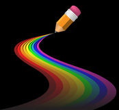 Abstract rainbow curves. Made by pencil royalty free illustration