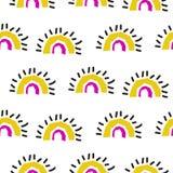 Abstract rainbow fans seamless vector pattern. stock illustration