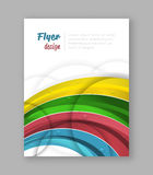 Abstract rainbow flyer design template with water drops. Royalty Free Stock Images