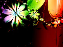 Abstract Rainbow Fractal Flower Dark Background Stock Photo