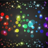 Abstract rainbow glowing circles with lights and. Dark background. Vector illustration for your funny design. Wallpaper for party presentation Royalty Free Stock Images