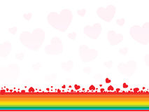 Abstract rainbow with hearts - valentines card Royalty Free Stock Image