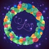 Abstract rainbow leaf vector color wreath. Magic Stock Photography
