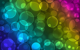 Abstract rainbow lights. Abstract glowing circles on a colorful background stock illustration