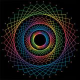 Abstract Rainbow mandala on black background. vector stock illustration