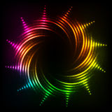 Abstract rainbow neon spirals vector cosmic frame Stock Photos
