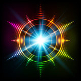Abstract rainbow neon spirals vector cosmic star Stock Images