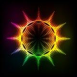 Abstract rainbow neon spirals vector cosmic sun Royalty Free Stock Photography