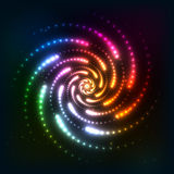 Abstract rainbow neoncosmic spiral background Royalty Free Stock Images