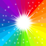 Abstract rainbow radial sun background. Vector. Abstract rainbow radial background. Glitter star effect decoration with ray sparkles for your design. Vector Royalty Free Stock Photo