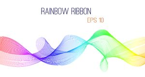 Abstract rainbow ribbon vector, eps 10. Colorful design on white isolated background stock illustration