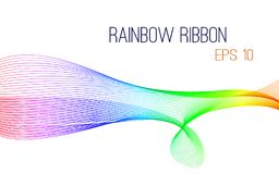 Abstract rainbow ribbon vector, eps 10. Colorful design on white isolated background royalty free illustration