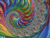 Abstract rainbow spiral textured fractal, 3d render. For poster, design and entertainment. Background for website and flyer vector illustration