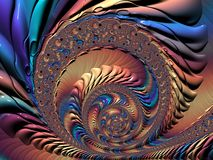 Abstract rainbow spiral textured fractal, 3d render. For poster, design and entertainment. Background for website and flyer royalty free illustration