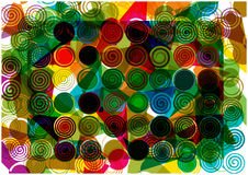 Abstract rainbow spirals and shapes background Stock Photography