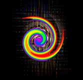 Abstract rainbow swirl. A rainbow colored spiraling swirl on a black background. Rainbow flag used by gay and lesbian groups royalty free illustration