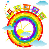 Abstract rainbow with toy train. Abstract round rainbow with toy train Stock Photography