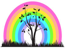 Abstract rainbow and tree. Vector illustration royalty free illustration