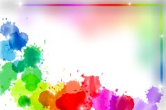 Abstract rainbow watercolor frame Stock Photo