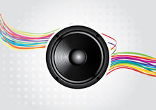 Abstract rainbow wave line. With speaker and place for your text Royalty Free Stock Photography
