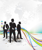 Abstract rainbow wave line background. With standing businessman . Vector illustration Royalty Free Stock Photography