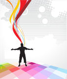 Abstract rainbow wave line background. With man raising his hands . Vector illustration Stock Images