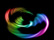 Abstract rainbow waves. Abstract rainbow neon waves on black background Royalty Free Stock Photography
