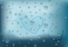 Abstract raindrop i love you text background Royalty Free Stock Photos