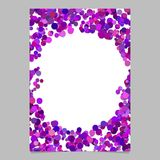 Abstract random dot design page template - trendy vector blank poster border graphic with purple circles royalty free illustration