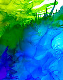 Abstract raster blue and green splashes. Colorful background hand drawn with bright inks and watercolor paints. Color splashes and splatters create uneven Stock Photography