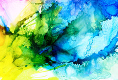 Abstract raster blue merging with yellow Stock Photo