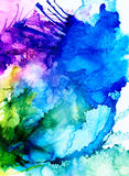 Abstract raster blue splashes with purple and green. Colorful background hand drawn with bright inks and watercolor paints. Color splashes and splatters create Royalty Free Stock Images