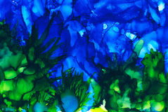 Abstract raster blue underwater and seaweed Royalty Free Stock Photography