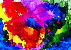 Abstract raster multicolored overflow. Colorful background hand drawn with bright inks and watercolor paints. Color splashes and splatters create uneven Royalty Free Stock Photo
