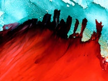 Abstract raster red floating on green Stock Photography